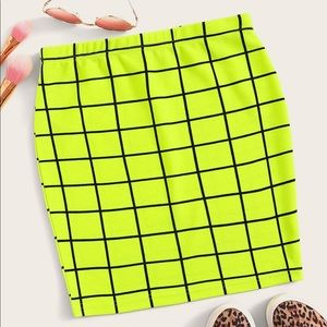 Neon Lime Grid Bodycon Skirt